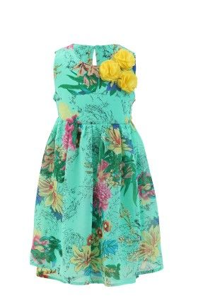 Emeral Green Georgette Floral Printed Dress - Magic Fairy