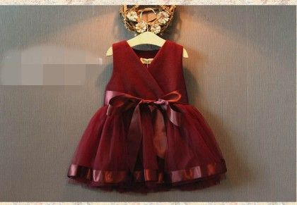 Wine Red Princess Dress Girl Party Dress - Tickles