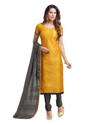 Orange Exclusive Chanderi Printed Dress Material With Matching Dupatta - Riti Riwaz - 243033