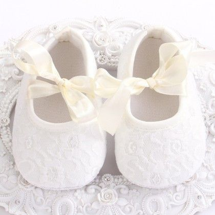 White Baby Girls Shoe With Lace Design - Angel Closet