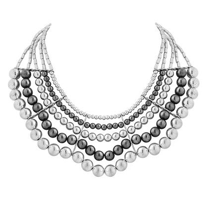 Silver And Black Beaded Necklace - Voylla