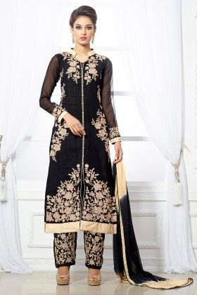 Black Georgette Dress Material - Touch Trends Ethnic