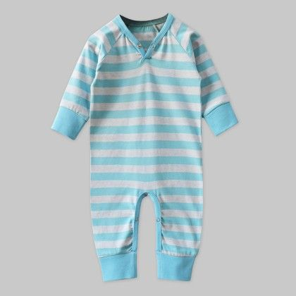 Full-sleeves Playsuit Sky-blue Stripe - A.T.U.N