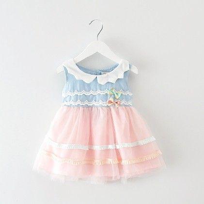Pretty Pink Collar Net Dress - Peach Giirl