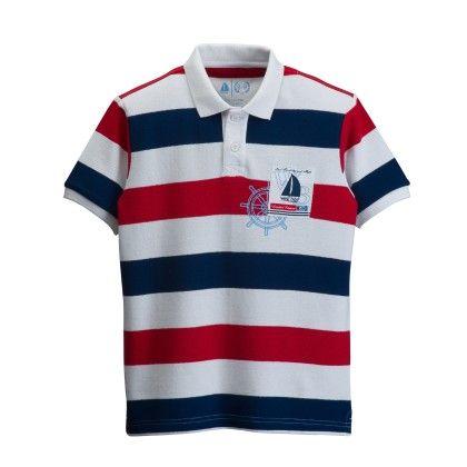 Boys Stripe Polo Tee - White, Blue, Red - West Bay