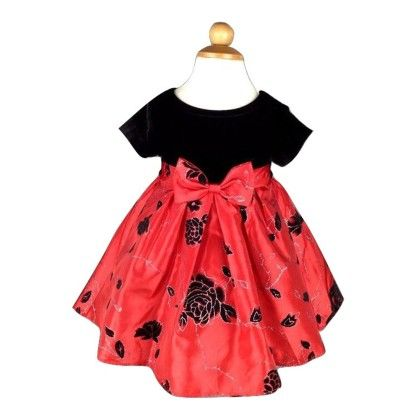Baby Party Wear Beautiful Princess Dress-red And Black - Cherry Blossoms