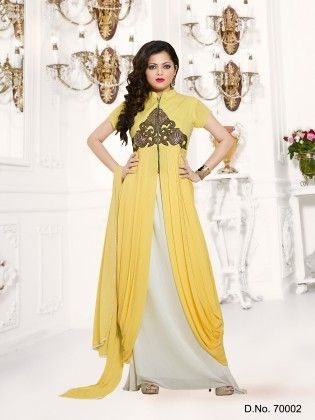 Yellow- Georgette Dress Material - Touch Trends Ethnic