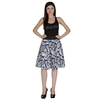 Shopingfever Floral Print Womens A-line Skirt Navy