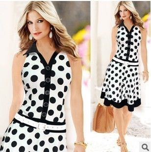 Sleeveless Chiffon Dress White With Black Polka Dots - Dell's World