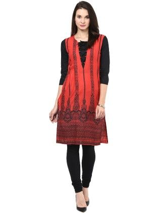 Red And Black Printed Kurti - StyleStone