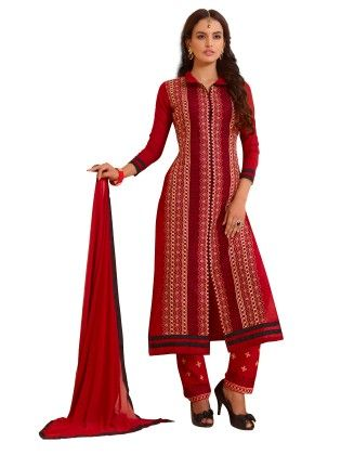 Red Exclusive Straight Fit Dress Material With Nazmeen Fancy Dupatta - Riti Riwaz