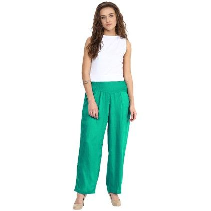 Shopingfever Rama Green Trouser With Side Zipper