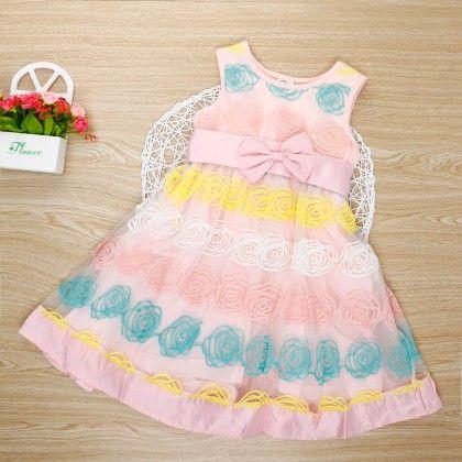 Beautiful Sleeveless Pink Dress With Bow - Bella