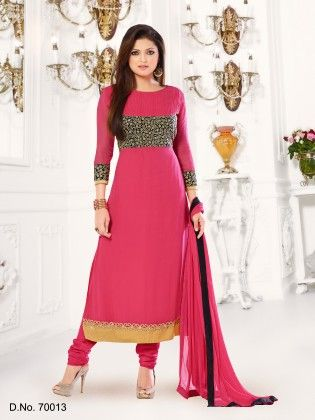Georgette Dress Material - Pink - Touch Trends Ethnic