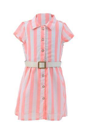 White-peach Georgette Stripped Dress - Magic Fairy