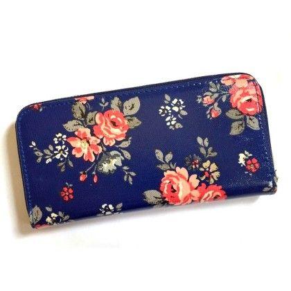 Navy Blue Floral Print Wallet - Violette