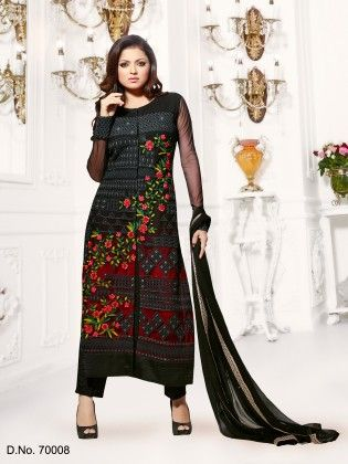 Black Net Dress Material - Touch Trends Ethnic