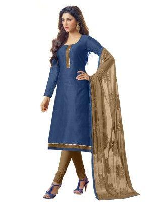 Unstitched Dress Material Blue & Brown - Riti Riwaz