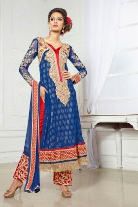 Blue Net Dress Material - Touch Trends Ethnic