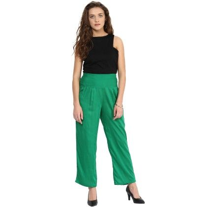 Shopingfever Green Trouser With Side Zipper