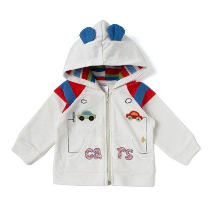 Cars Applique Jacket In White - Alice