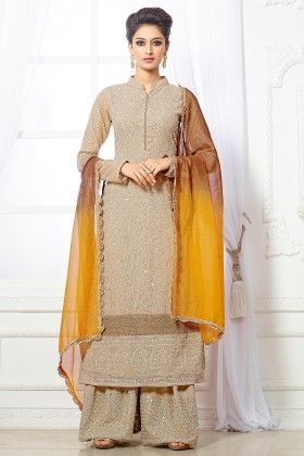 Beige- Georgette Dress Material - Touch Trends Ethnic