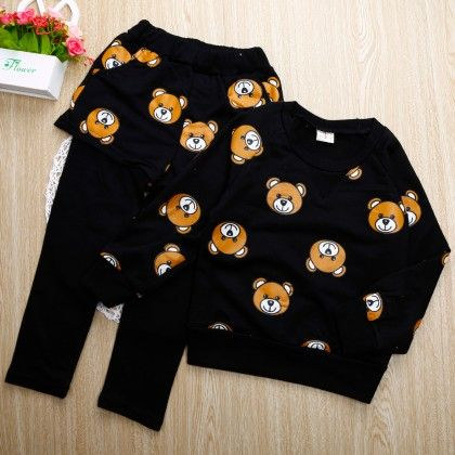 Cute Black Teddy Print Top And Legging Attached With Shorts - 2 Pcs Set - LittleLuscious