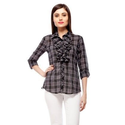 Black And White Check Shirt With Front Frill - StyleStone