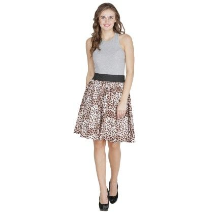 Shopingfever Printed Womens A-line Skirt Brown