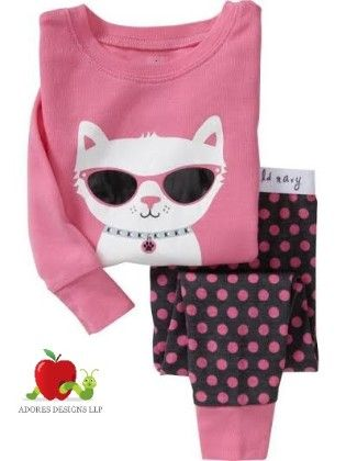 Cat With Glares Print Pyjama Set - Adores