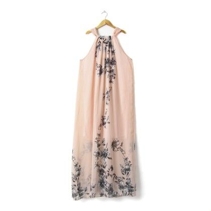 Floral Long Dress With Belt - Peach - STUPA FASHION