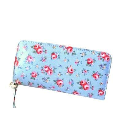 Floral Printed Blue Zipper Wallet - Violette
