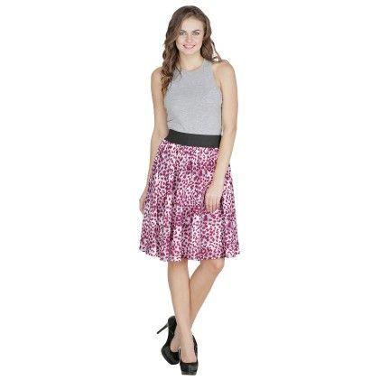 Shopingfever Printed Womens A-line Skirt Purple
