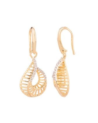 Voylla Yellow Gold Toned Marvelous Earring With Cz Sparkles