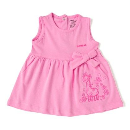 Giraffe Embroidery Pink Cotton Frock - Do Re Me