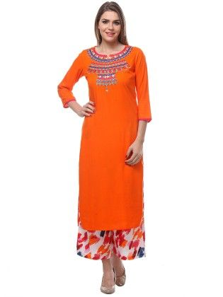 Orange Rayon Kurta With Three Quarter Sleeves - Riti Riwaz