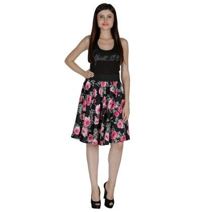 Shopingfever Floral Print Womens A-line Skirt Black