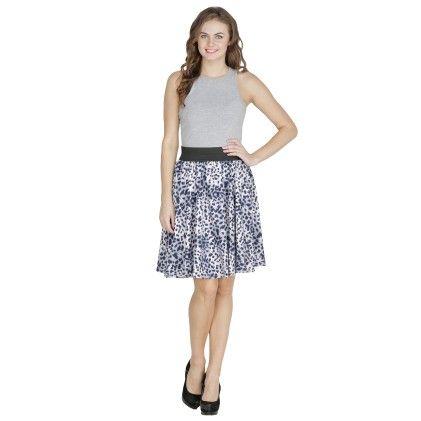 Shopingfever Printed Womens A-line Skirt - Blue