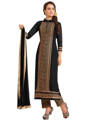 Black Exclusive Straight Fit Dress Material With Nazmeen Fancy Dupatta - Riti Riwaz