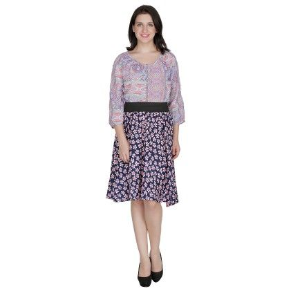 Shopingfever Floral Print Womens A-line Skirt -multi