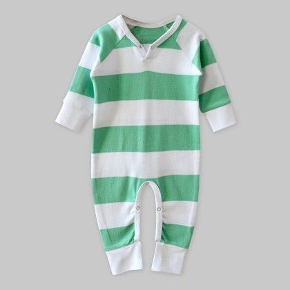 Full-sleeves Playsuit White-green Stripe - A.T.U.N