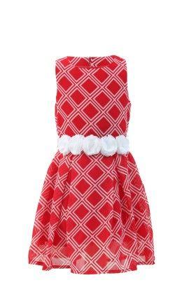 Red-white Georgette Printed Dress - Magic Fairy