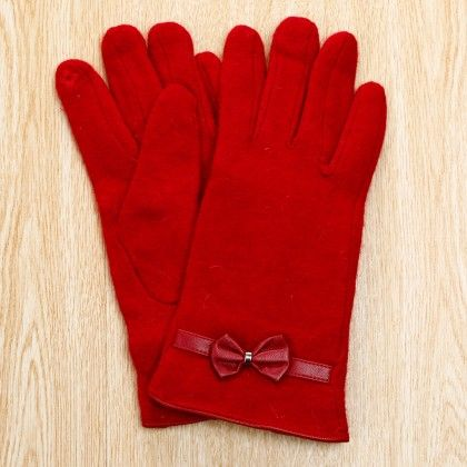 Classy Studded Bow Applique Gloves - Red - Glaze