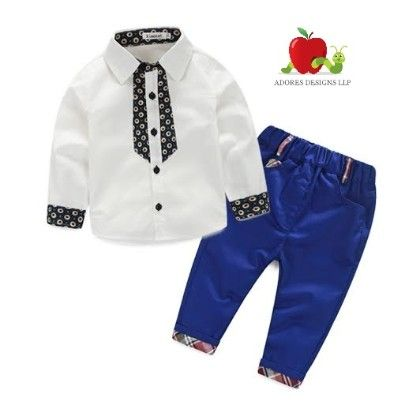 White Printed Shirt And Style Pant Set - White - Adores