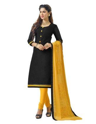 Unstitched Dress Material Black & Yellow - Riti Riwaz