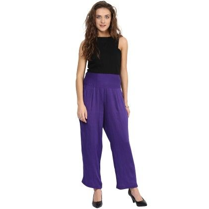 Shopingfever Purple Trouser With Side Zipper