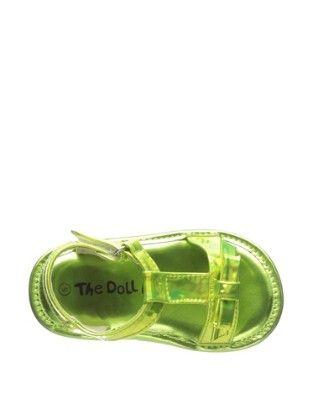 Girl's Metallic Lime Bow T-strap Sandal - Lime - Dollmaker