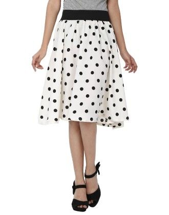 Shopingfever White Polka Print Womens A-line Skirt