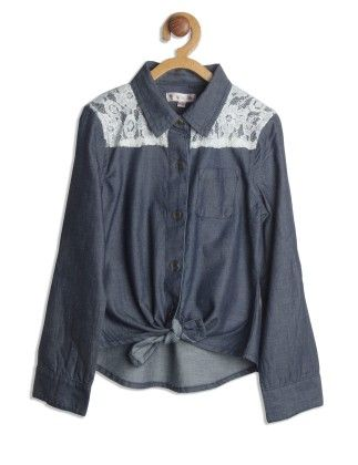 Navy Blue & White Laced Denim Shirt - My Lil'Berry