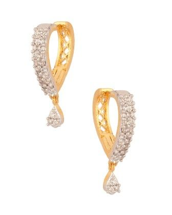 Voylla Pair Of Gold Plated Dangler Earrings Studded With Cz
